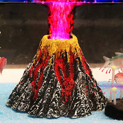 Sunyiny Aquarium Volcano with Red LED Spotlight