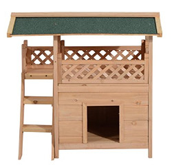 Pawhut Outdoor Wood Cat House
